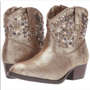 Frye Girls Deborah Studded Gold Metallic Booties